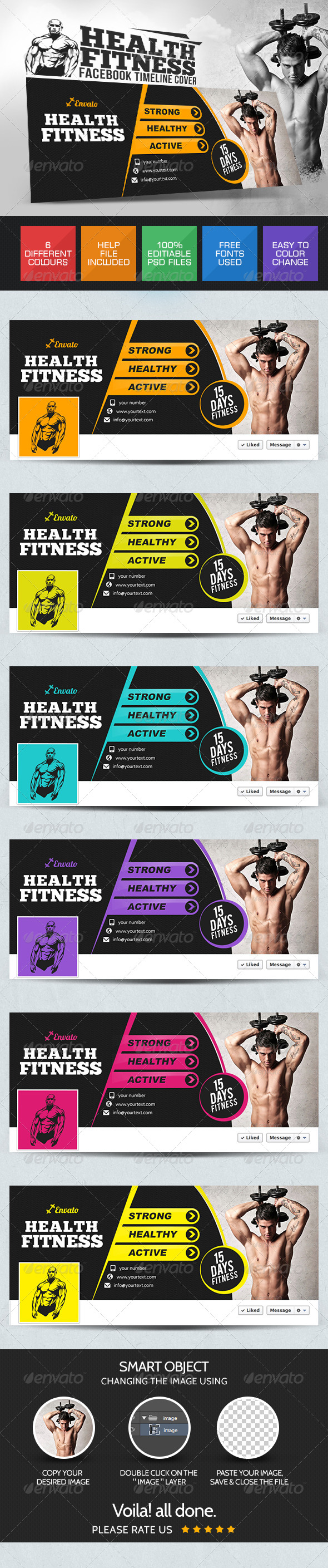 GraphicRiver Health & Fitness Facebook Cover Pages 7801210