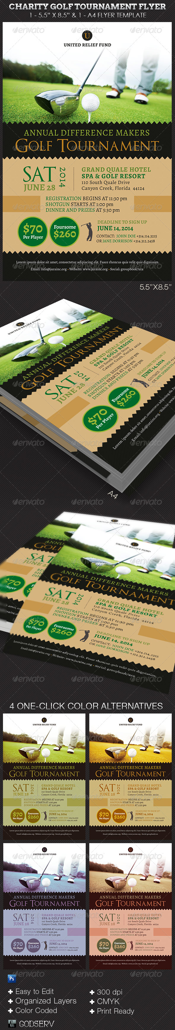 Charity Golf Tournament Flyer Template - Sports Events