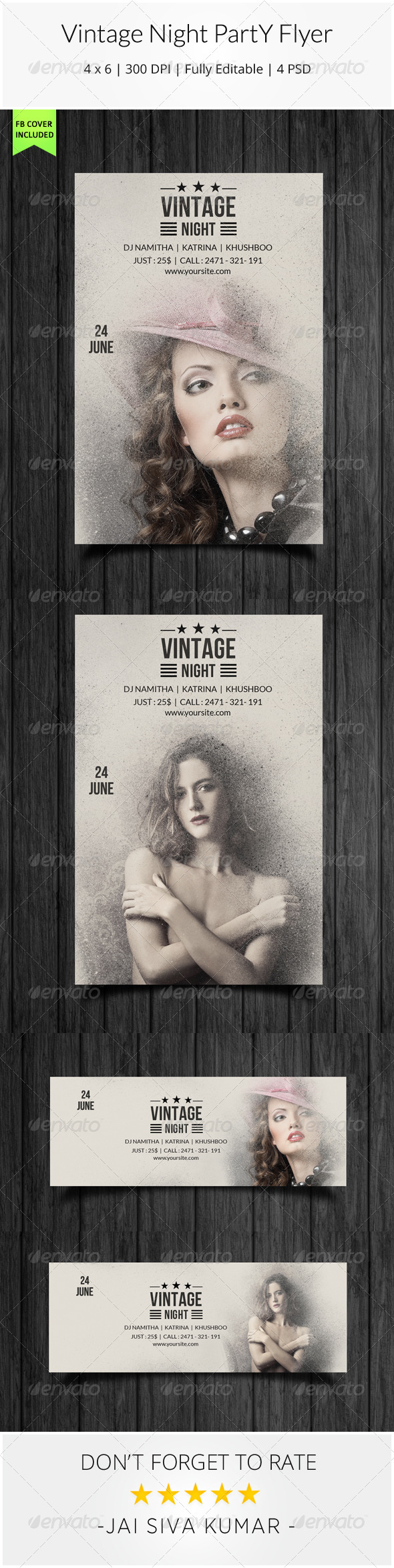 GraphicRiver Vintage Night Party Flyer 7801926