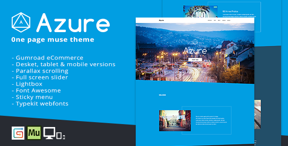 Azure - One Page Muse Theme - Creative Muse Templates