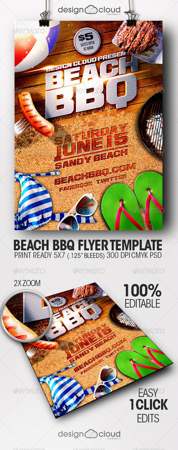 GraphicRiver Beach BBQ Flyer Template 7802341