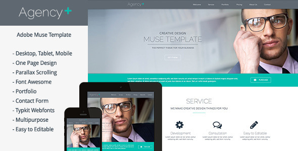 AgencyPlus - One Page Multi-Purpose Muse Template - Creative Muse Templates