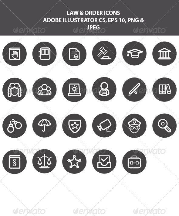 GraphicRiver Law & Order Icons 7802949