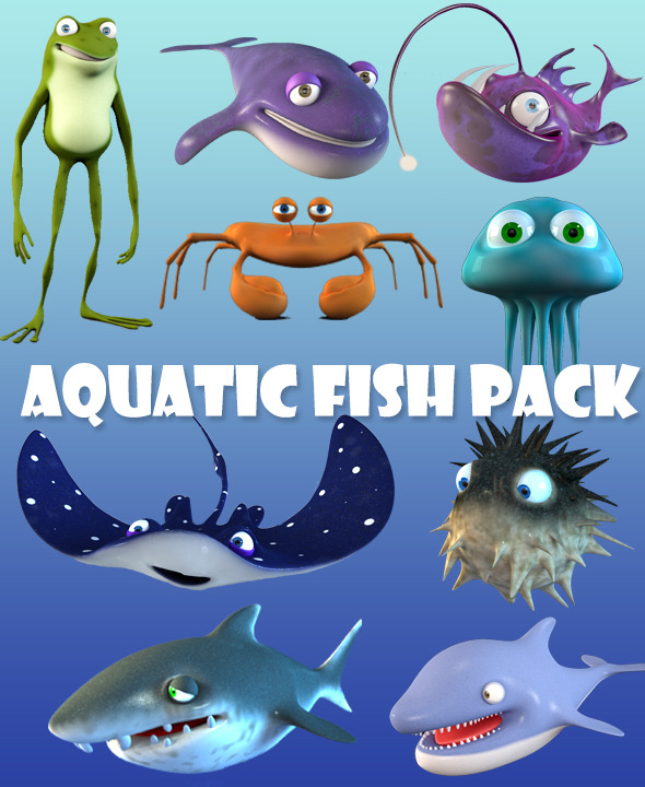 3DOcean Cartoon Fish Bundle 7803404