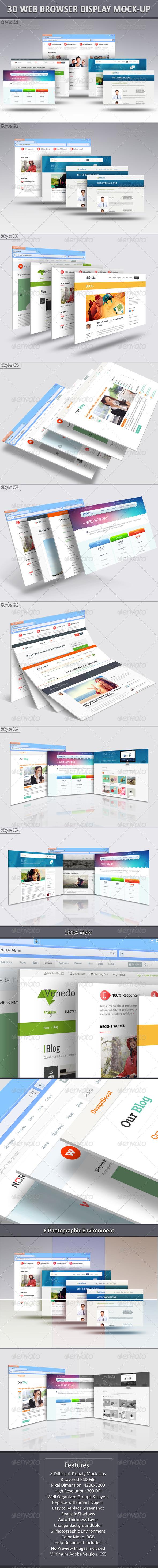 GraphicRiver 3D Web Browser Display Mock-Up 7804501