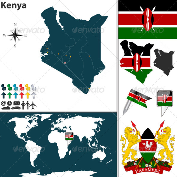 GraphicRiver Map of Kenya 7805390