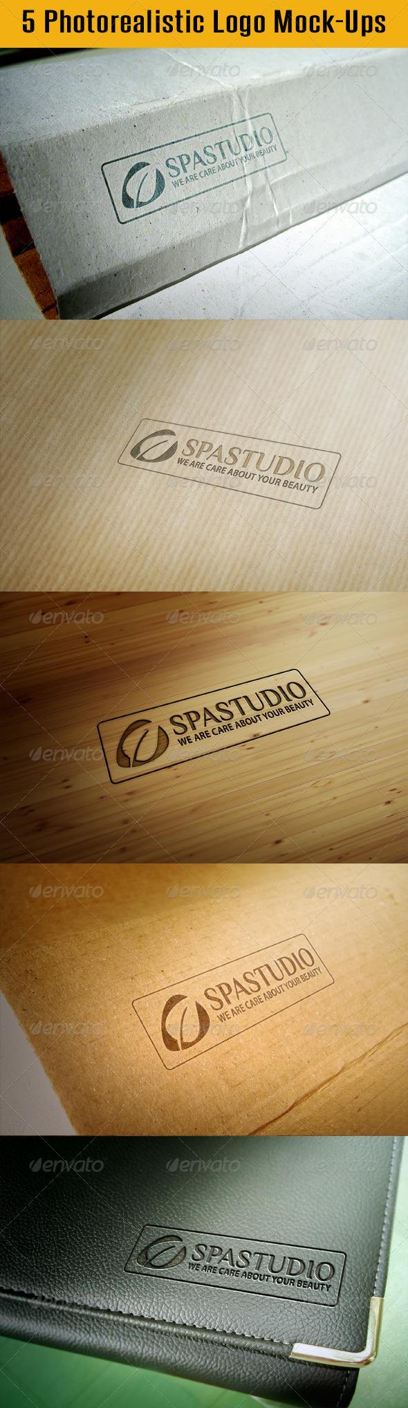 GraphicRiver 5 Photorealistic Logo Mock-Ups 4918145