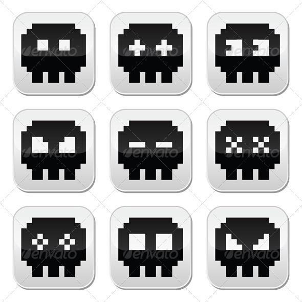 GraphicRiver Pixelated 8 Bit Skull Icons Set 7805523