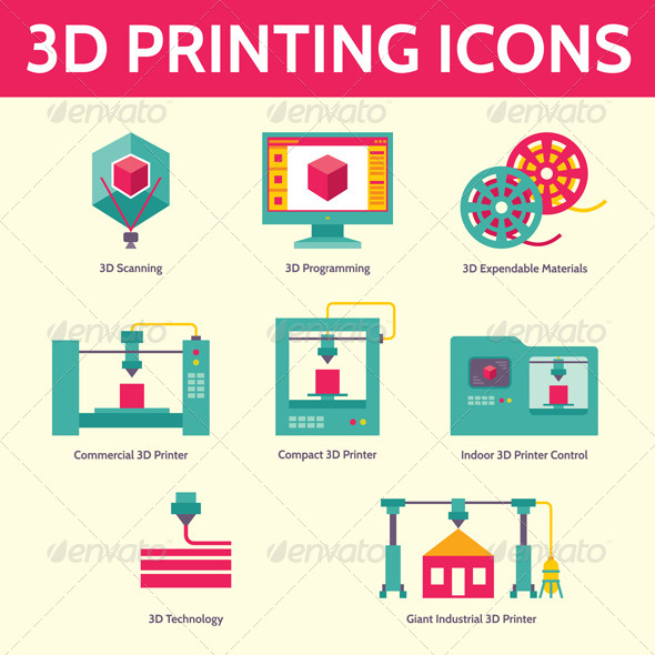 GraphicRiver 3D Printing Vector Icons in Flat Design Style 7805709