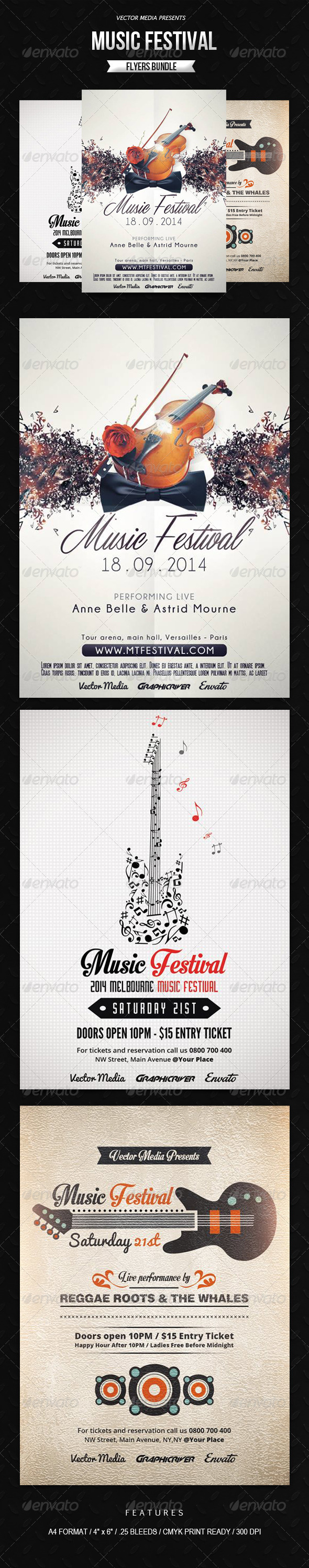 GraphicRiver Music Festival Flyers Bundle 7805758