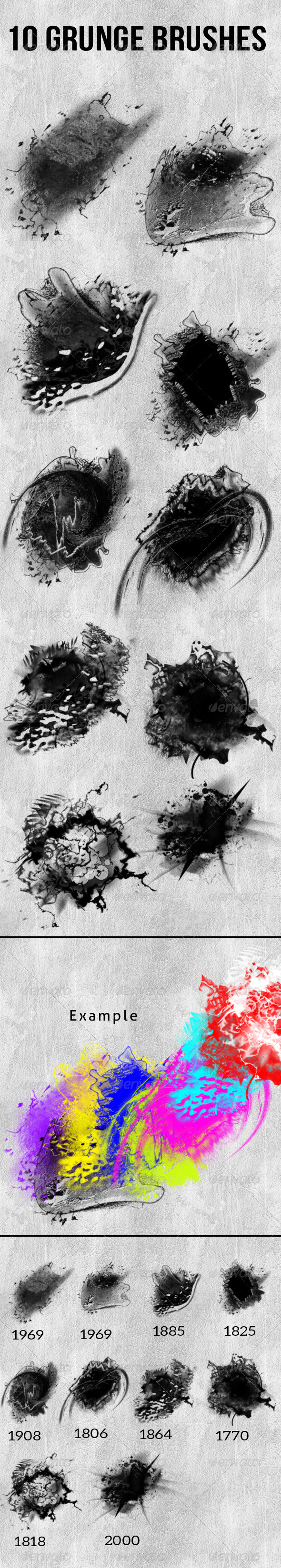 GraphicRiver 10 Grunge Brushes 7806300