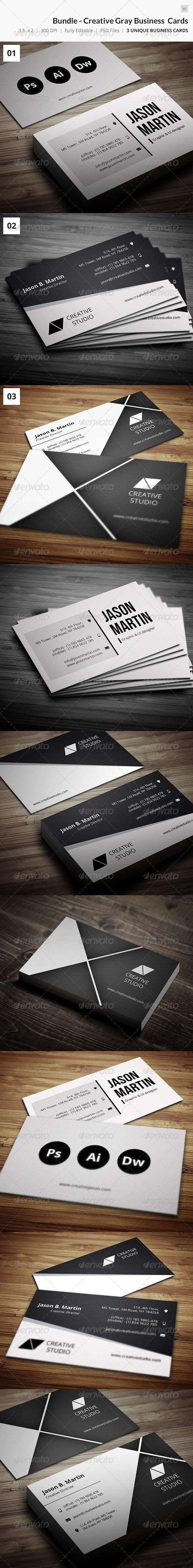 Bundle Creative Grey Business Cards 30