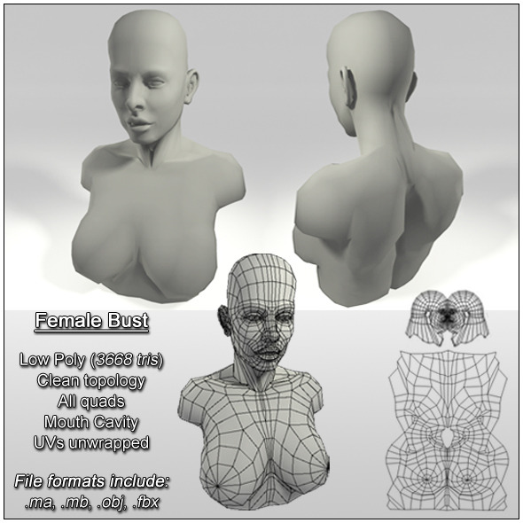 Low Poly Female Bust - 3DOcean Item for Sale
