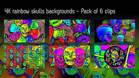 Rainbow Skulls Background Pack Of 6 Videos