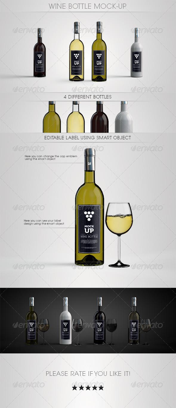 GraphicRiver Wine Bottle Mock-Up 7807917