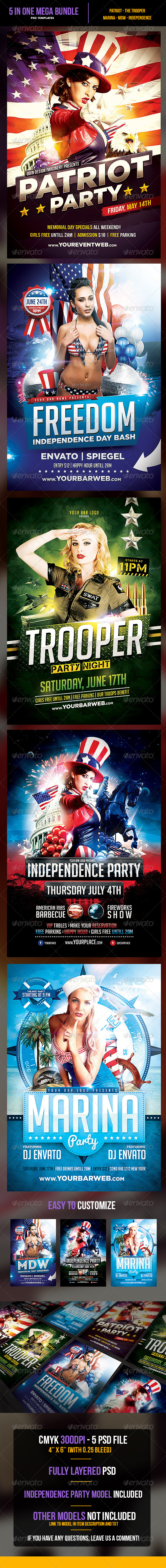5 in 1 The Patriot Mega Bundle - Events Flyers