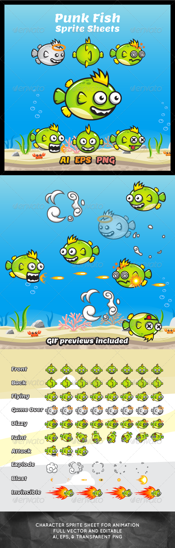 GraphicRiver Game Character Punk Fish Sprite Sheets 7808036