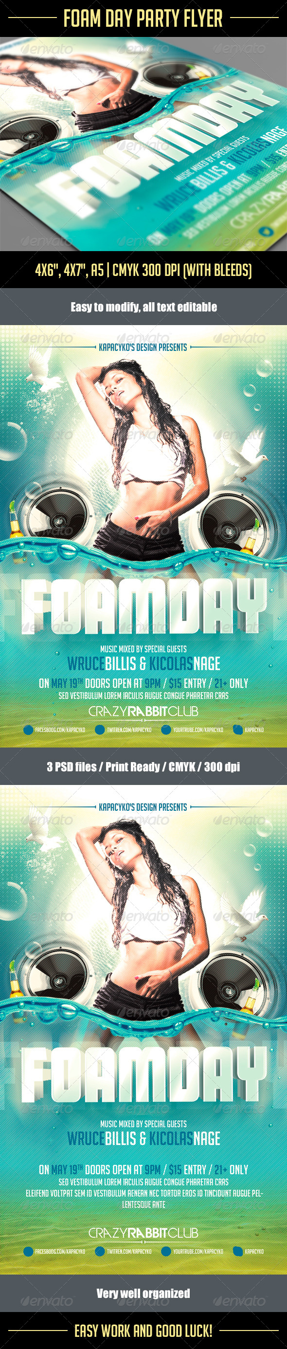 Foam Day Party Flyer - Holidays Events