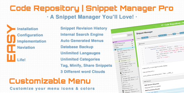 CodeCanyon Code Repository & Snippet Manager Pro 7808336