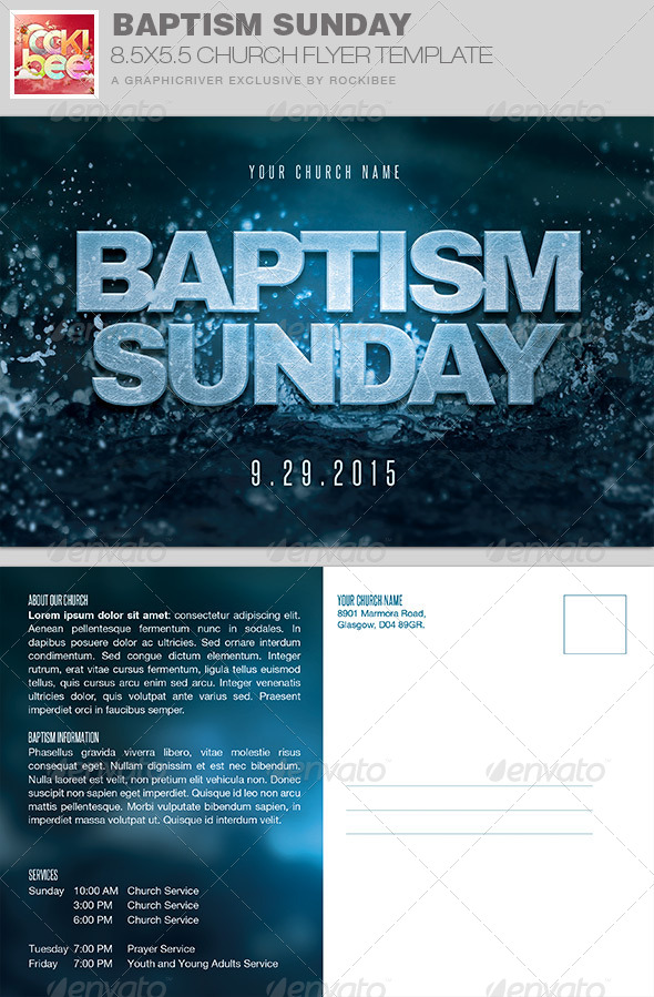 GraphicRiver Baptism Sunday Church Flyer Invite Template 7808403