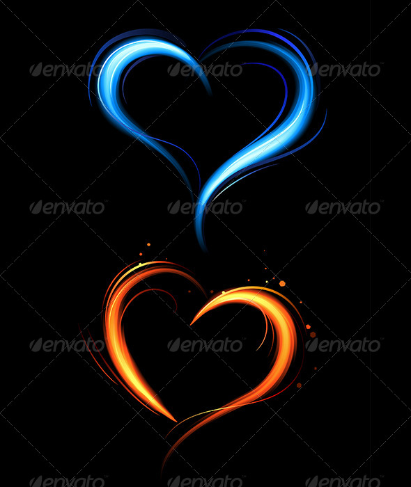 GraphicRiver Red and Blue Fire Hearts 7808642