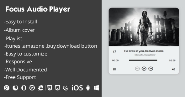 Focus Audio Player With Playlist