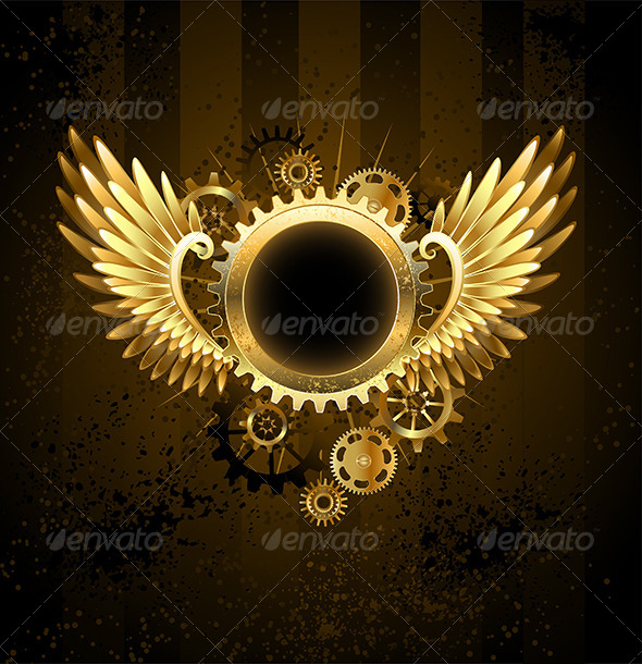 GraphicRiver Round Banner with Steampunk Wings 7808888