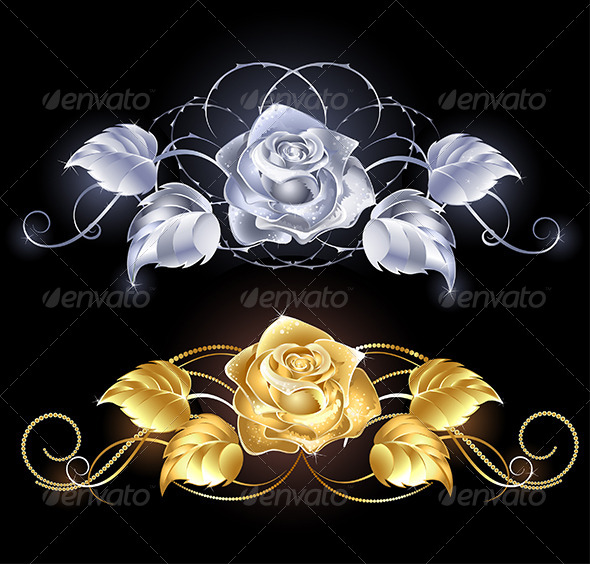 GraphicRiver Gold and Silver Rose 7809130