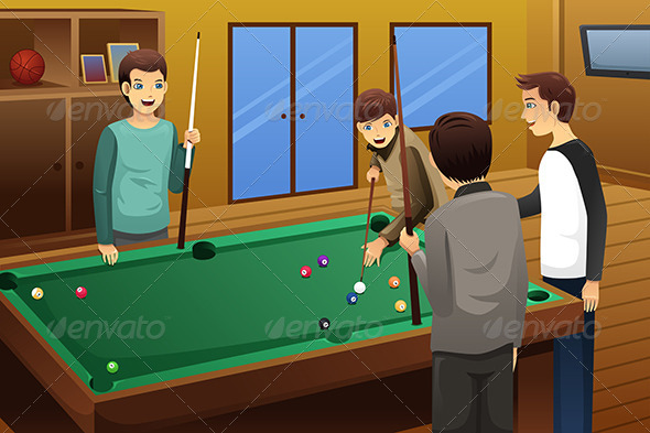 GraphicRiver Young People Playing Billiard 7809200