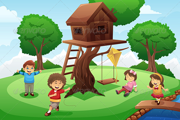 GraphicRiver Kids Playing Around Tree House 7809208