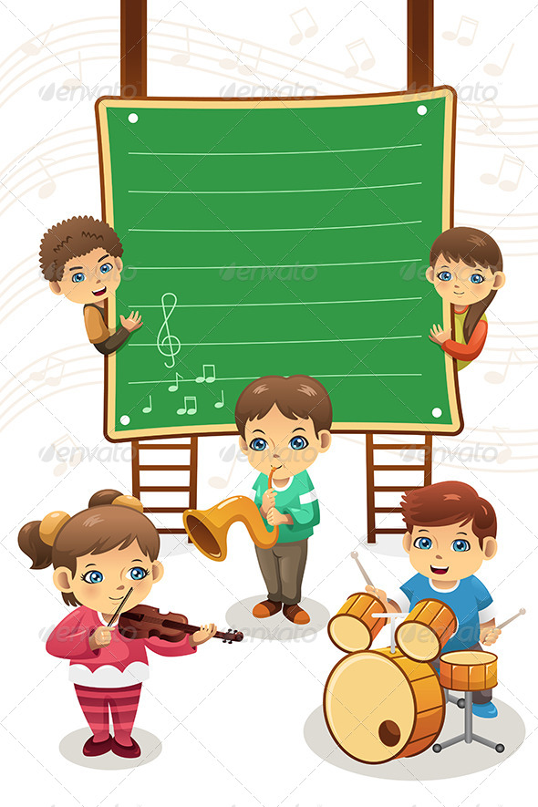 GraphicRiver Kids Playing Music Poster 7809380
