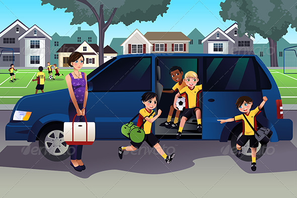 GraphicRiver Mother Driving Kids to Soccer Practice 7809498