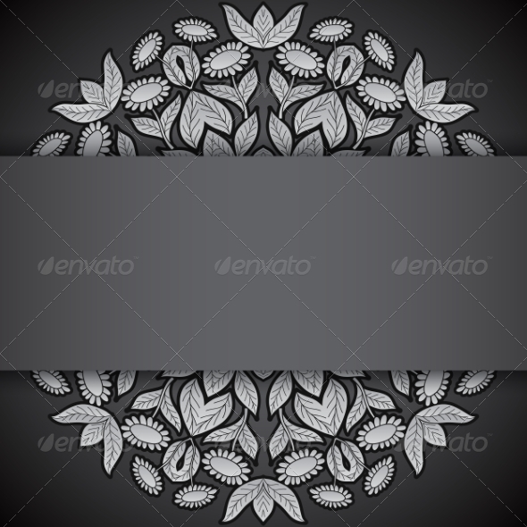 GraphicRiver Silver and Black Round Sunflowers Invitation 7809501
