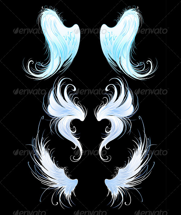 GraphicRiver Angels Wings on Black Background 7809539
