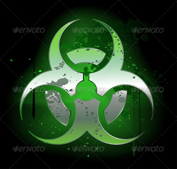 GraphicRiver Biohazard Symbol on Dark Background 7809586