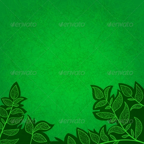 GraphicRiver Background with Green Leaves and Scratches 7809704