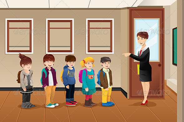 GraphicRiver Teacher Lining up Students 7809811