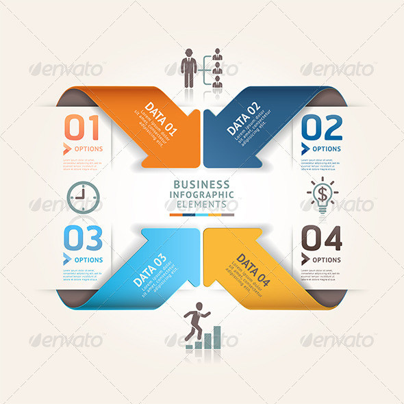 GraphicRiver Modern Arrow Origami Infographic Template 7809855