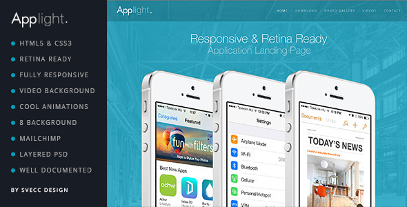 AppLight - Responsive One Page Scroll App Theme - Landing Pages Marketing