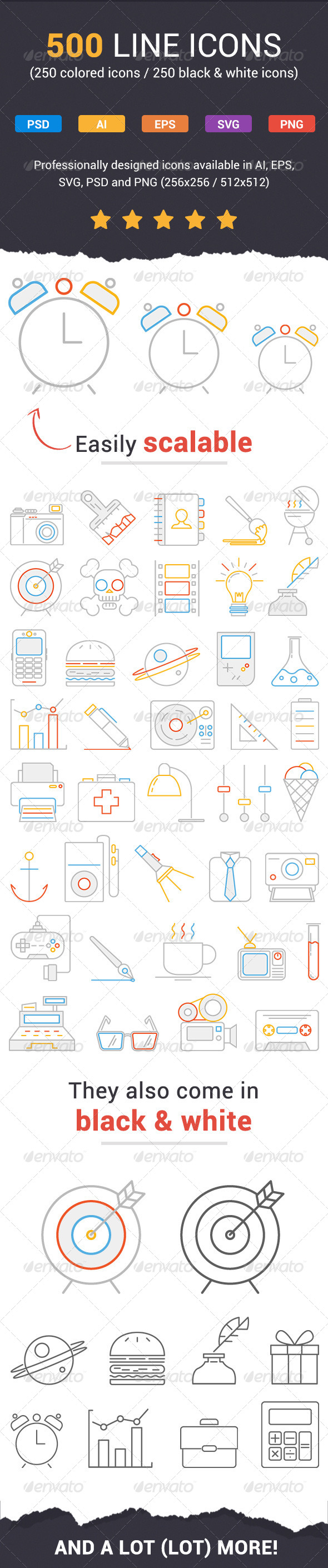 GraphicRiver 500 Fresh Line Icons 7810258