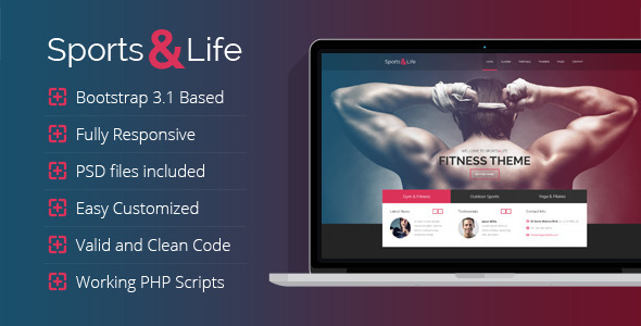 ThemeForest Sports&Life Gym & Fitness HTML Template 7764522