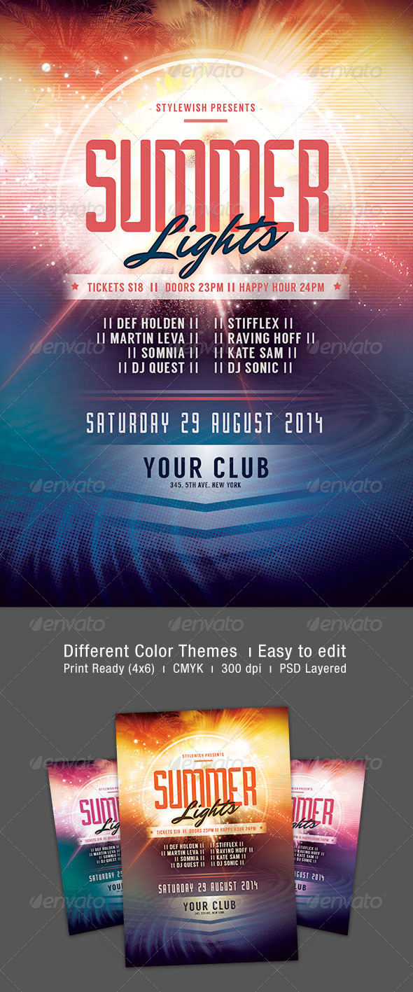 Summer Lights Flyer - Clubs & Parties Events