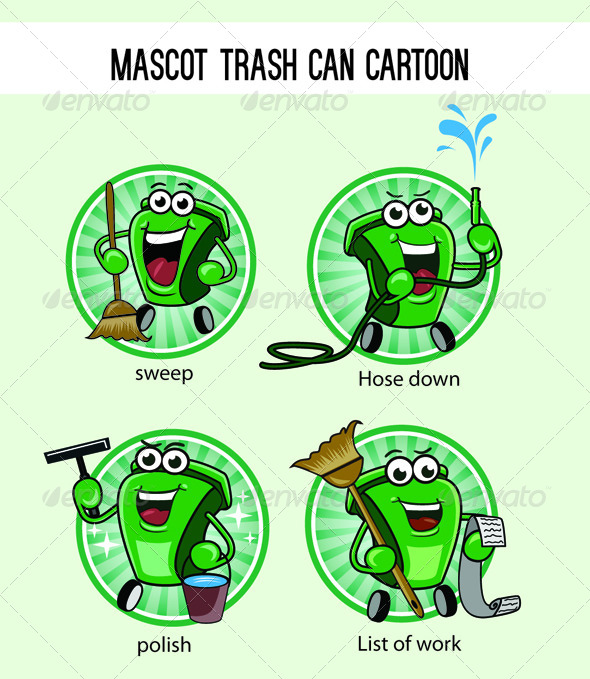 GraphicRiver Trash Can Mascot Cartoon 7811384
