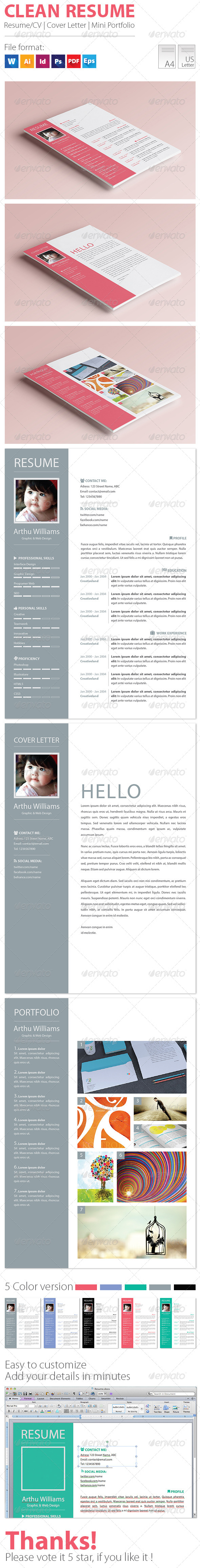 GraphicRiver Clean Resume 7778694