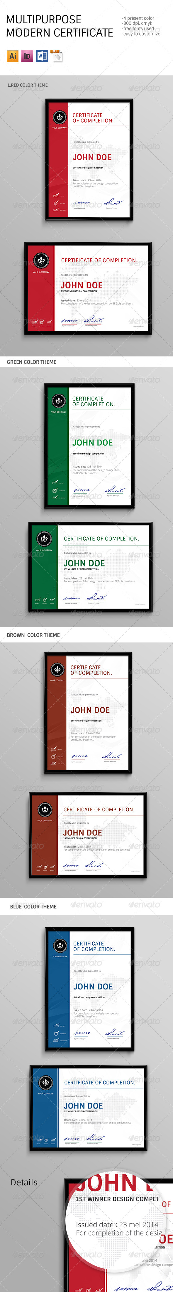 GraphicRiver Modern Multipurpose Certificates 7811705