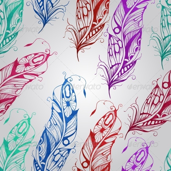 GraphicRiver Vector Seamless Pattern with Watercolor Feathers 7811717