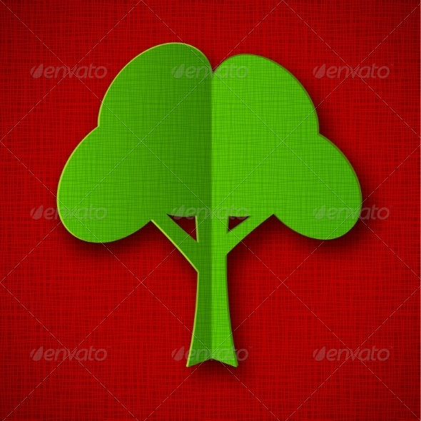 GraphicRiver Green Paper Tree on Dark Red Background 7811720