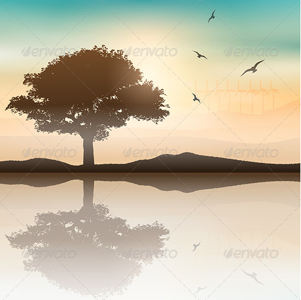 GraphicRiver Tree Landscape Background 7811780