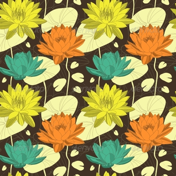 GraphicRiver Lotus Flowers in Seamless Pattern 7811793