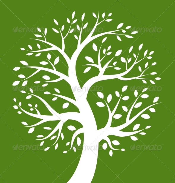 GraphicRiver White Tree Icon on Green Background 7811816